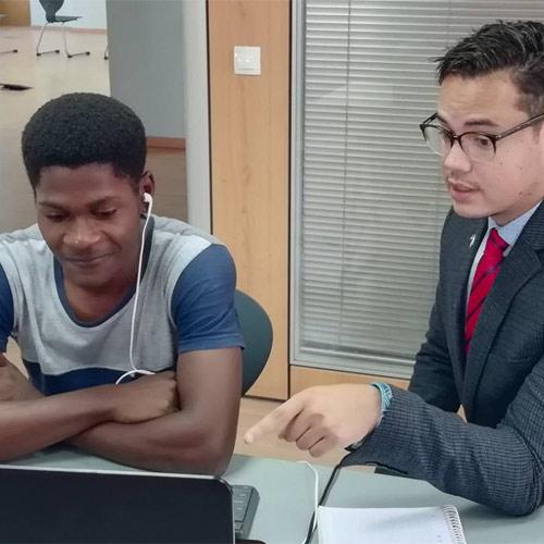Teacher joking with students